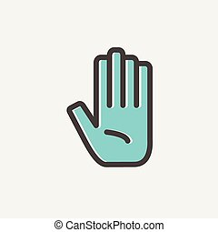 Hand thin line icon