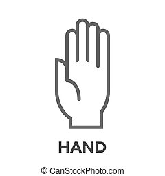 Hand thin line vector icon