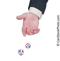 Hand throws dice.