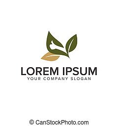 hand thumb leaf logo design concept template