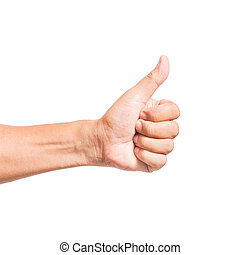 hand thumb up like concept isolated on white background with...