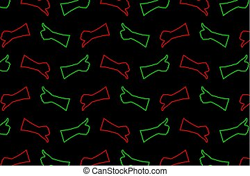 Hand - thumb up - thumbs down - vector pattern