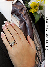 Hand Tie - A brides hand on grooms chest