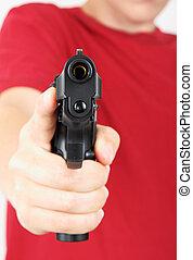 hand, tiener, zijn, geweer, brandpunt