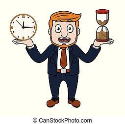 hand, timglas, klocka, affärsman