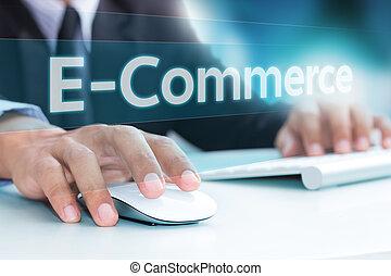 hand, tippen, auf, laptop-computer, tastatur, e-commerz