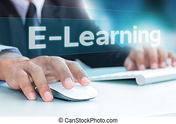 hand, tippen, auf, laptop-computer, tastatur, e-lernen