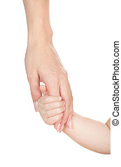 hand to a child isolated on white background
