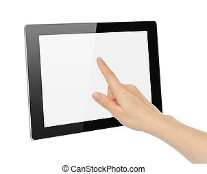 Hand toching tablet PC isolated on white background
