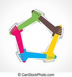 hand, toevoegen, vorm een team werk, of, steun, elke