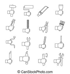 Hand tool icons set building, outline style