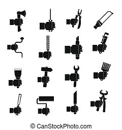 Hand tool icons set building, simple style