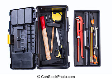 Hand tool kit. Black box with tool set isolated on white ...