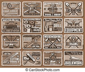 Hand tool retro posters of construction equipment - Hand ...