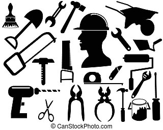 hand tool silhouettes - isolated black hand tool silhouettes...