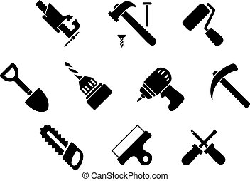 Hand tools and instruments icons