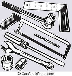 Collection of various hand tools and hardware