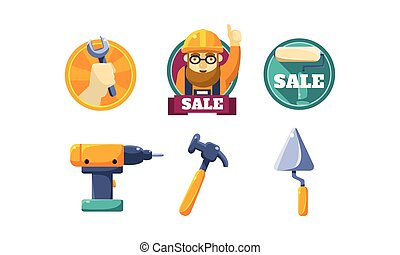 Hand tools for carpentry and home renovation, tools shop design elements vector Illustration