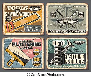Vector fastening bolts and screws, plastering and woodwork handyman tools, hammers with nails and wood saw. Construction tools shop vintage posters, house remodeling and renovation service