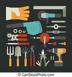 Hand tools icon set , flat design , eps10 vector format