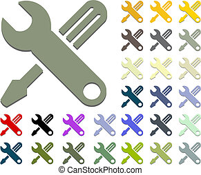 hand tools of wrench and screwdriver icon