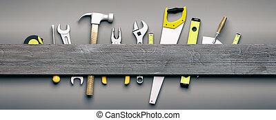 Hand tools on grey wooden background. 3d illustration - Set...