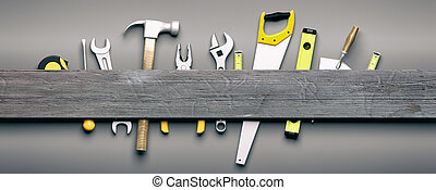 Hand tools on grey wooden background. 3d illustration - Set...