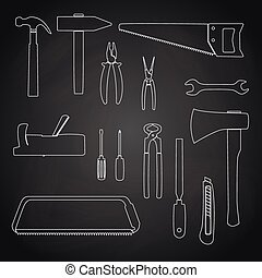 hand tools outline icons on chalkboard eps10