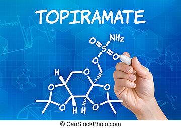 hand, topiramate, formel, zeichnung, stift, chemische