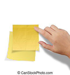 hand touch blank yellow sticky note