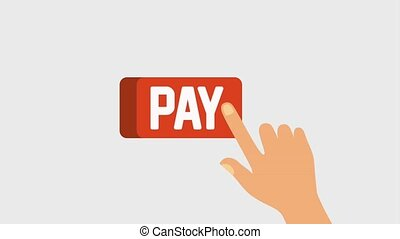 hand touch button pay online business digital animation