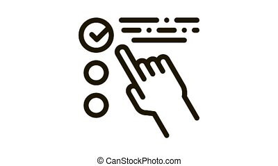 Hand Touch Check List Approved Mark animated black icon on white background