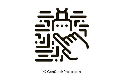 Hand Touch Chip Icon Animation. black Hand Touch Chip animated icon on white background