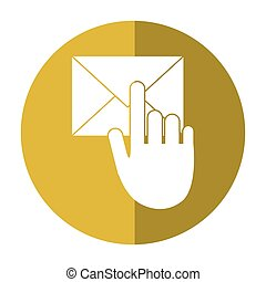 hand touch envelope email message shadow
