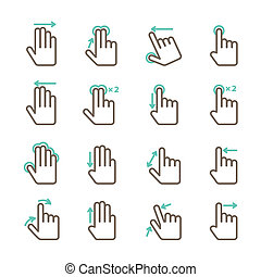 Hand touch gestures icons set - Touch screen hand gestures...