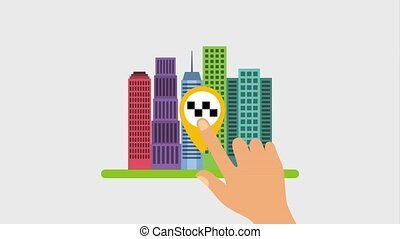 hand touch pointer map taxi cab service gps navigation