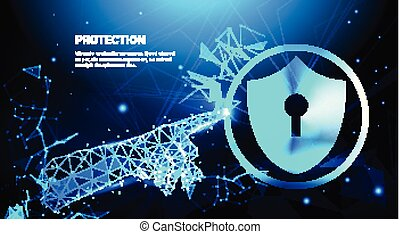 Hand Touch Protection Shield Blue Polygonal Over Business Concept Of Data Security