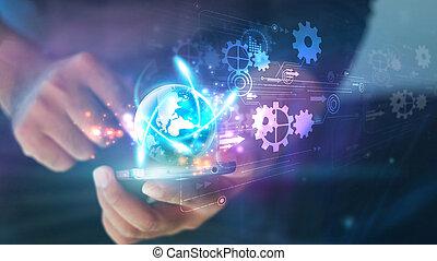 Hand touch screen smart phone. Digital technology concept, Social media