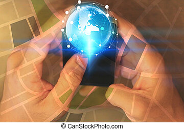 Hand touch screen smart phone. Social network concept.