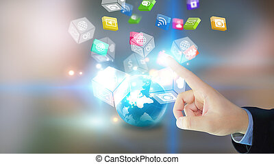 Hand touch screen social media icons.