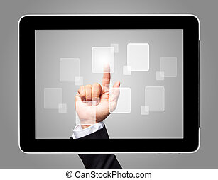 hand touch screen with virtual icon