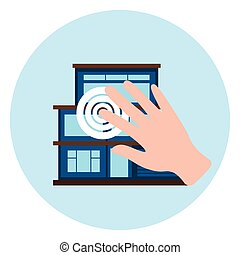 Hand Touch Smart House Icon Modern Home Control Technology Concept