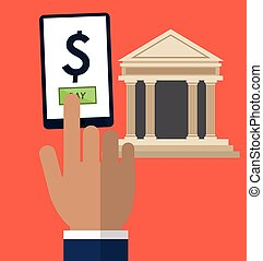 hand touch smartphone pay online bank vector illustration...