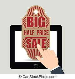 hand touch tablet tag big half price sale