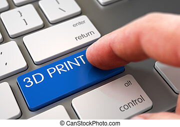 Hand Touching 3D Print Keypad. 3D Rendering.