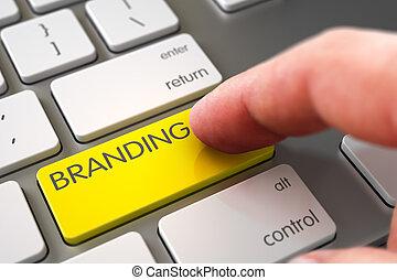 Hand Touching Branding Key.