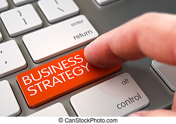 Hand Touching Business Strategy Keypad. 3D.