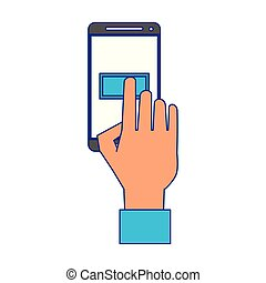 Hand touching button on smartphone screen blue lines