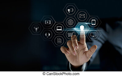 Hand touching icon payments global network connection on dark background, Omni Channel