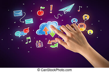 Hand touching icons